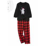 Lovely Family Printed Black Mother Two-piece Pants