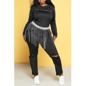 Lovely Trendy Hollow-out Black Plus Size Two-piece