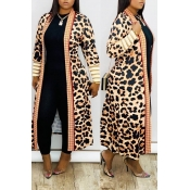 Lovely Casual Leopard Print Cardigan Long Length T