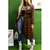 Lovely Casual Ruffle Design Brown Coat