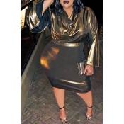 Lovely Casual V Neck Patchwork Gold Knee Length Pl