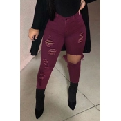 Lovely Casual Hollow-out Wine Red Jeans