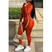 Lovely Sportswear Patchwork Jacinth Two-piece Pants Set