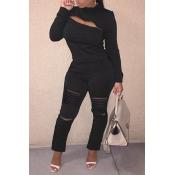 Lovely Trendy Zipper Design Black Two-piece Pants