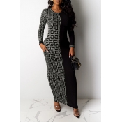 Lovely Casual Patchwork Silver Ankle Length Dress