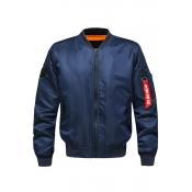 Lovely Casual Zipper Design Deep Blue Cotton-padde