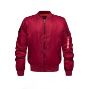 Lovely Casual Zipper Design Red Cotton-padded Clothe