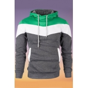 Lovely Casual Hooded Collar Color-lump Patchwork G