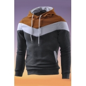 Lovely Casual Hooded Collar Color-lump Patchwork Brown Hoodie
