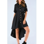 Lovely Trendy Buttons Black Knee Length Dress