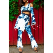 Lovely Trendy Printed Blue Two-piece Pants Set