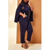 Lovely Casual Cloak Design Dark Blue Plus Size One
