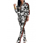 Lovely Casual Camouflage Printed White Two-piece P