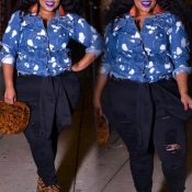 Lovely Casual Buttons Design Blue Plus Size Coat
