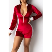 Lovely Leisure Color-lump Patchwork Red One-piece