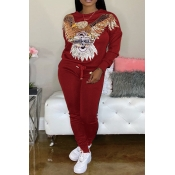 Lovely Casual O Neck Patchwork Red Two-piece Pants Set