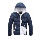Lovely Casual Zipper Design Navy Blue Cotton-padde