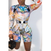 Lovely Sexy Printed Multicolor One-piece Romper(Wi