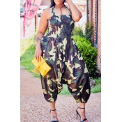 Lovely Casual Camouflage Printed Army Green Plus S