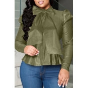 Lovely Sweet O Neck Flounce Design Blackish Green Blouse