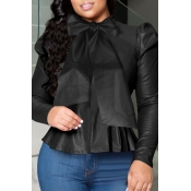 Lovely Sweet O Neck Flounce Design Black Blouse