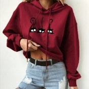 Lovely Casual O Neck Printed Wine Red Hoodie