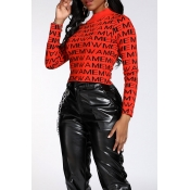 Lovely Casual Letter Printed Red Sweater