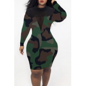 Lovely Casual See-through Camouflage Printed Knee Length Dress