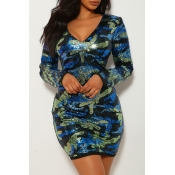 Lovely Casual V Neck Sequined Blue Mini Dress