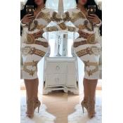 Lovely Trendy Printed Skinny White Knee Length Dre