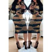 Lovely Trendy Printed Skinny Black Knee Length Dre