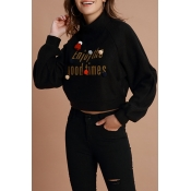 Lovely Chic Letters Printed Black Hoodies