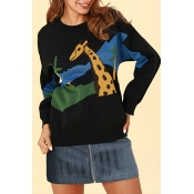 Lovely Trendy Animal Black Cotton Sweaters