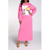 Lovely Sweet Printed Pink Ankle Length Dress
