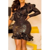 Lovely Sweet Flounce Design Black Mini Evening Dre