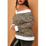 Lovely Casual V Neck Leopard Printed Plus Size Swe