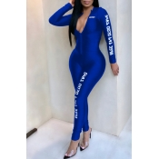 Lovely Casual Letter Printed Skinny Blue One-piece Jumpsuit