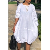 Lovely Trendy O Neck Loose White Knee Length Dress