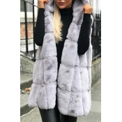 Lovely Casual Basic Winter Light Grey Vests