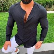 Lovely Trendy Buttons Design Black Shirt
