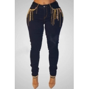 Lovely Casual Sequined Decorative Deep Blue Jeans