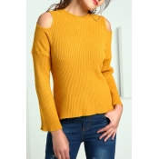 Lovely Casual Dew Shoulder Yellow Knitting Sweater