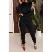 Lovely Party Tassel Design Black Two-piece Pants S