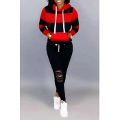Lovely Casual Hooded Collar Hollow-out Black Two-p