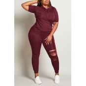 Lovely Casual Hollow-out Wine Red  Plus Size Two-p