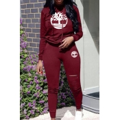 Lovely Trendy Hooded Collar Hollow-out Wine Red Two-piece Pants Set