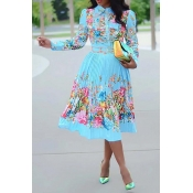 Lovely Leisure Floral Printed Baby Blue Mid Calf P