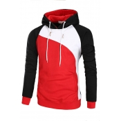 Lovely Trendy Hooded Collar Patchwork Red Hoodie