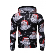 Lovely Casual Hooded Collar Santa Claus Printed Bl