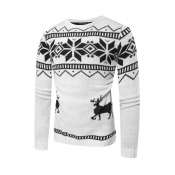Lovely Casual Christmas Deer White Sweater